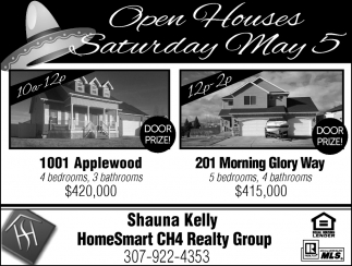 Open Houses Saturday May 5