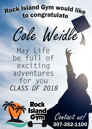 Rock Island Gym Would Like to Congratulate Cole Weidle