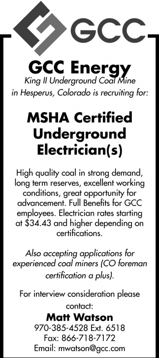 Msha Certified Underground Electricians Gcc Energy Hesperus Co
