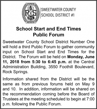 School Start and End Times Public Forum