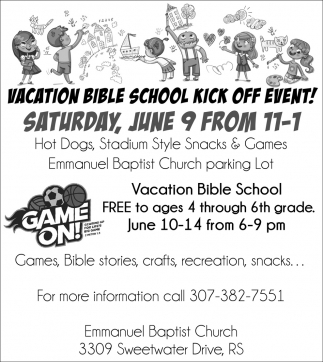Vacation Bible School Kick Off Event!