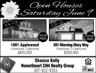 Open Houses Saturday June 9
