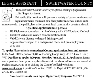 Sweetwater County is Seeking a Professional Legal Assistant