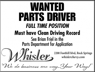 Wanted Parts Driver