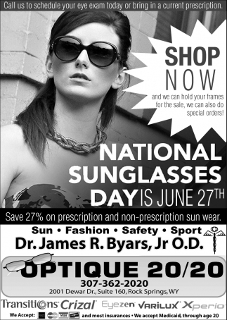 National Sunglasses Day is June 27th