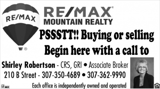 Buying or Selling Begin Here with a Call to Shirley Robertson