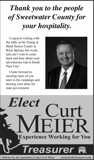 Thank You to the People of Sweetwater County for Your Hospitality