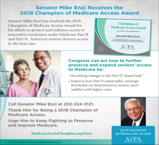 Senator Mike Enzi Receives the 2018 Champion of Medicare Access Award