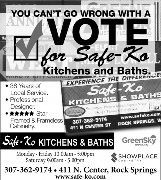 You Can't go Wrong with a Vote for Safe-Ko Kitchens and Baths
