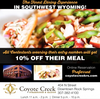 The Finest Dining Experience in Southwest Wyoming!