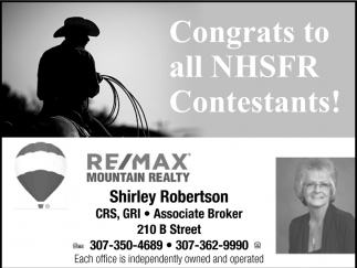 Congreats to All NHSFR Contestants!