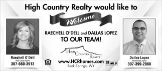 Welcome Reachell O'Dell and Dallas Lopez