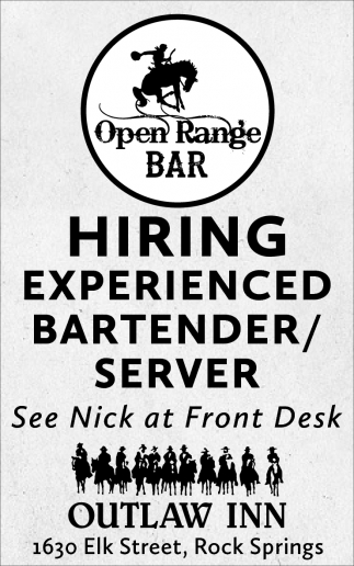 Hiring Experienced Bartneder/Server