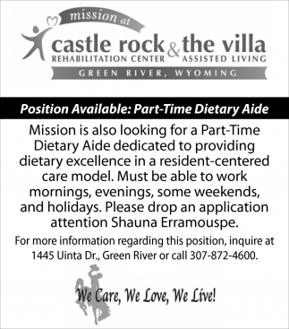Position Available: Part-Time Dietary Aide