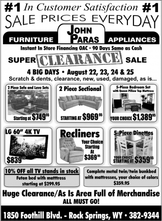 Sales Pries Everyday, John Paras Furniture And Appliances, Rock Springs, WY