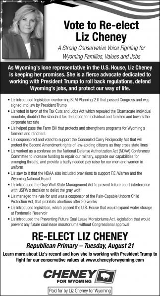 Vote to Re-Elect Liz Cheney