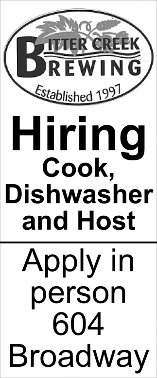 Hiring Cook, Dishwasher and Host