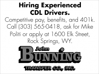 Hiring Experienced CDL Drivers