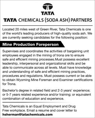 Mine Production Foreperson