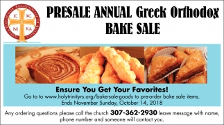 Presale Annual Greek Orthodox Bake Sale