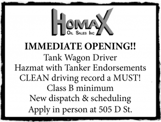 We Have Inmediate Tank Wagon Positions Available