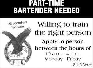 Part-Time Bartender Needed