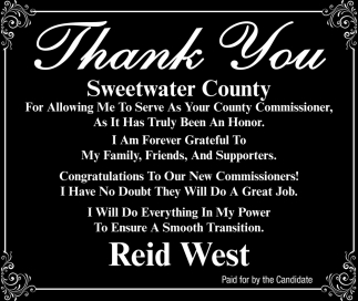 Thank you Sweetwater County