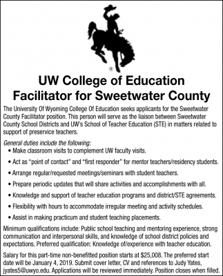 Facilitator for Sweetwater County