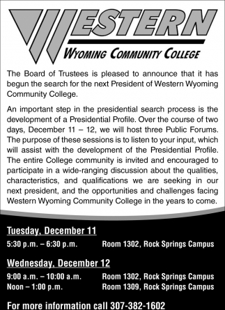 Search for the Next President of Western Wyoming Community College
