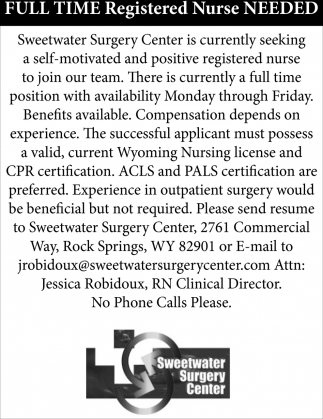Full Time Registered Nurse Needed