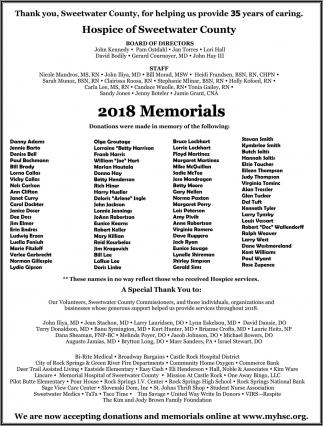 2018 Memorials