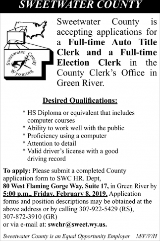 Full-Time Auto Title Cleark and a Election Clerk