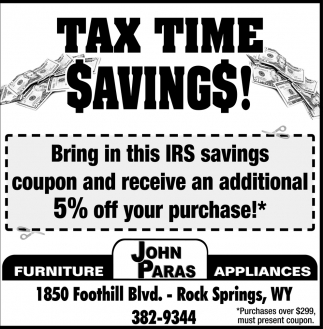 Tax Time Savings!