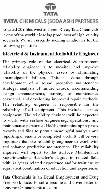Electrical & Instrument Reliability Engineer