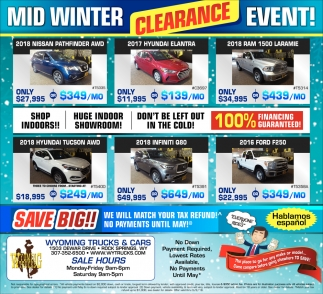 Mid Winter Clearance Event!