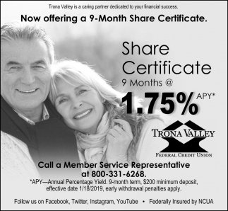 Now Offering a 9-Month Share Certificate