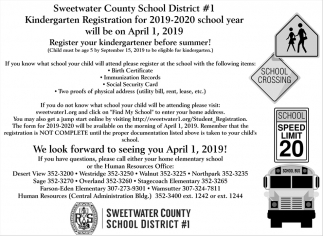 Kindergarten Registration for 2019-2020 School Year