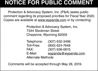Notice for Public Comment