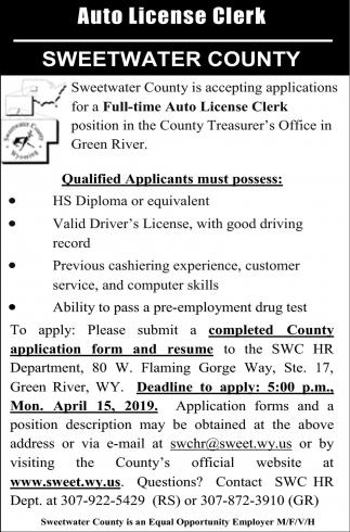 Auto License Clerk