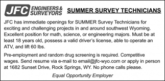 Summer Survey Technicians