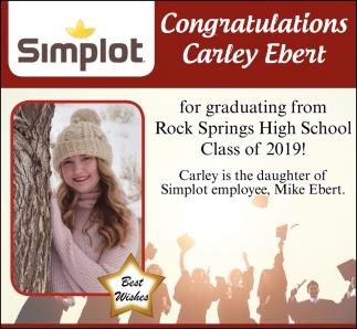 Congratulations Carley Evert