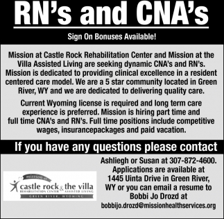 RN's and CNA's