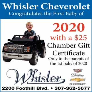 Whisler Chevrolet Congratulates the First Baby of 2020 with a $25 Chamber Gift Certificate