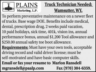 Truck Technician Needed