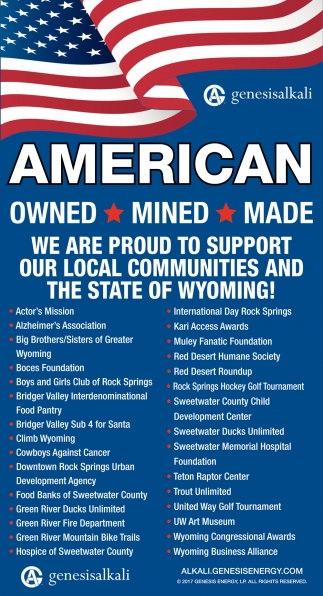 We are Proud to Support Our Local Communities and The State of Wyoming!