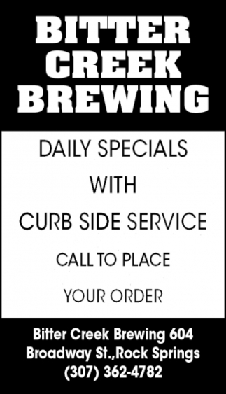Daily Specials with Curb Side Service
