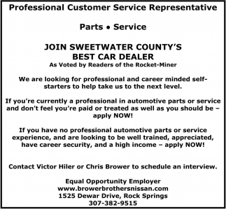 Join Sweetwater Countyu0027s Best Dealer, Brower Brothers Nissan, Rock Springs,  WY