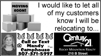 I would like to let all of my customers kow I will be relocating